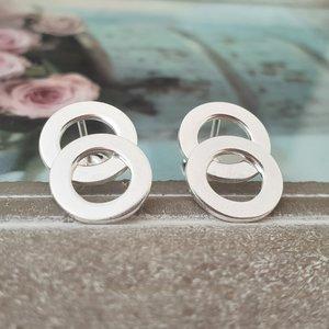Cercei 2 decenii – 2 cercuri unite – Argint 925, surub
