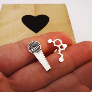 Cercei asimetrici - Microfon si Serotonina - Argint 925, surub