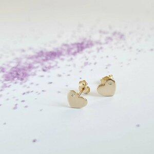 Cercei cu Diamante naturale - Inima - Aur Galben 14K - Inchizatoare surub