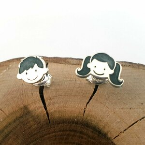 Cercei Familie - fata cu 2 codite si baiat - Argint 925 - inchidere surub