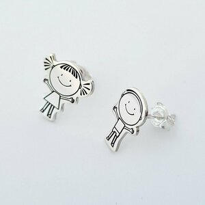 Cercei Fetita si Baiat siluete - Argint 925