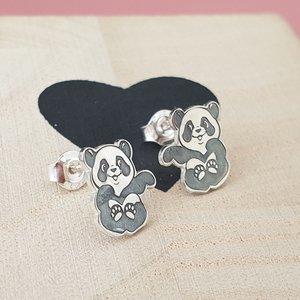 Cercei Panda - Argint 925, surub