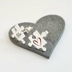 Cercei personalizati - Piesa de puzzle gravata/decorata cu email colorat - Argint 925 - inchizatoare surub