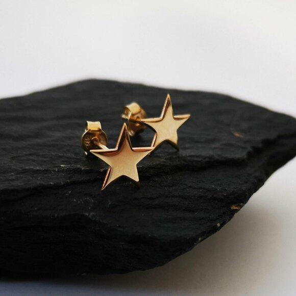 Cercei Stea - Aur Galben 14K - inchidere surub