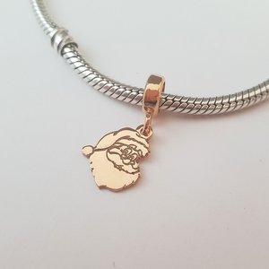 Charm personalizat Craciun - Mos Craciun - Argint 925 placat cu Aur roz 14K