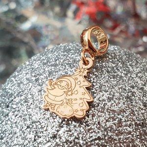 Charm personalizat Craciun - Mos si brad - Argint 925 placat cu Aur roz 14K