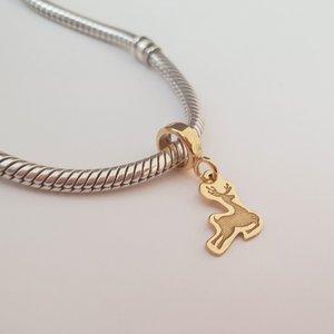 Charm personalizat Craciun - Renul Rudolf - Argint 925 placat cu Aur galben 14K