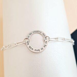 Colier personalizat - Lant cu zale dreptunghiulare - Pandantiv disc cu mesaj gravat - Argint 925