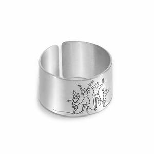 Inel personalizat - Familie bucuroasa - model lat - Argint 925