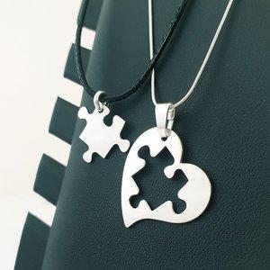 Set 2 lantisoare - Cuplu - Inima si Puzzle - Argint 925