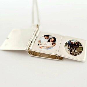 Lantisor cu medalion album cu 2 poze in interior - Gravura personalizata - Argint 925 - Deschidere carlig