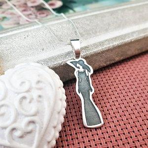 Lantisor cu pandantiv Model - Femeie cu palarie fashion - Argint 925