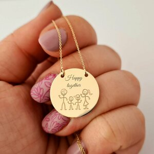 Lantisor cu pandantiv personalizat cu familie - Happy together - Banut de 20 mm - Aur Galben 14K