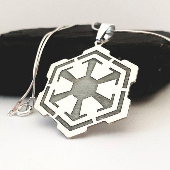 Lantisor cu pandantiv personalizat - simbol Star Wars - Sith Empire Emblem - Argint 925