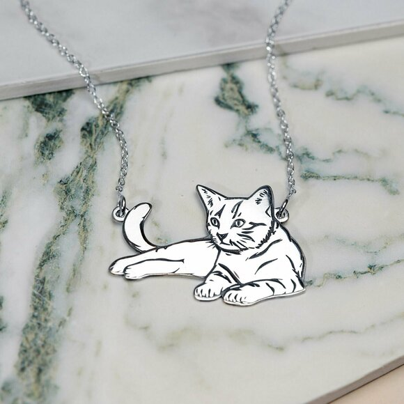 Lantisor personalizat - Pisica intinsa - Argint 925
