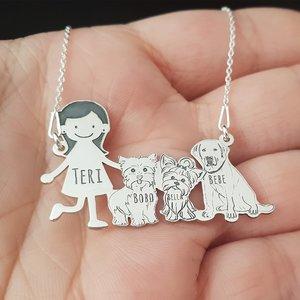 Lantisor Familie - 4 Membri cu 2 Yorkshire Terrieri si 1 Labrador - Argint 925