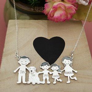 Lantisor Familie - 5 Membri cu caine - Argint 925