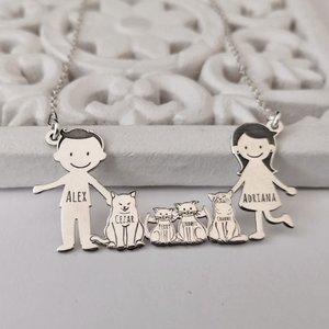 Lantisor Familie - 6 Membri cu 4 Pisici - Argint 925