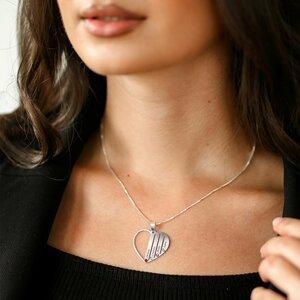 Lantisor Familie Inima - 4 membri - Argint 925 cu cristale Swarovski