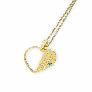 Lantisor Familie Inima - 3 membri - Argint 925 placat cu Aur galben 14K si cu cristale Swarovski