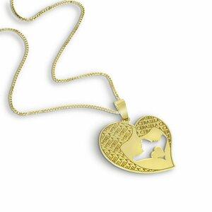 Lantisor Inima - Mama si fiica - Argint 925 placat cu Aur galben 14K