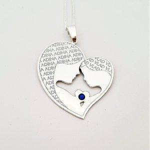 Lantisor Inima - Mama si fiu - Argint 925 cu cristal Swarovski