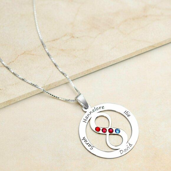 Lantisor Iubire Infinita - 4 nume - Argint 925 si cristale Swarovski