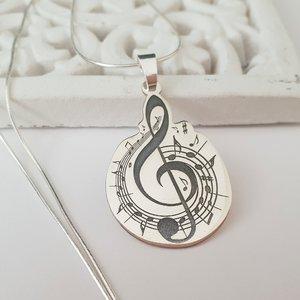 Lantisor personalizat - Cheia Sol cu portativ si note muzicale - Argint 925
