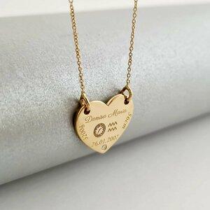 Lantisor personalizat cu Diamant natural - Inima 15 mm - Botez - Aur Galben 14K