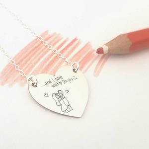 Lantisor personalizat - Gravura scrisului de mana si/sau desen personal - Pandantiv Inima - Argint 925