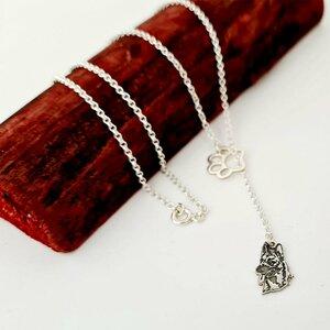 Lantisor personalizat - Labuta si Caine Ciobanesc Malinois - Model lariat Y - Argint 925