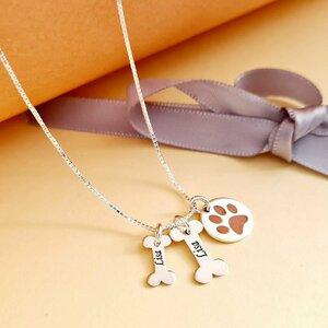 Lantisor personalizat - Oase si Labuta decorata cu email - Argint 925