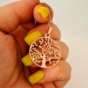 Lantisor premium - Copacul Vietii - personalizat cu nume - Argint 925 placat cu Aur roz 14K