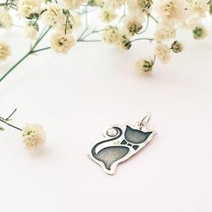 Pandantiv Pisica cu papion - Argint 925 - cristal Swarovski