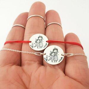 Set 2 bratari personalizate - Mama si fiica - Banuti de 15 mm  - Argint 925 - snur reglabil pentru fiica si lantisor pentru mama