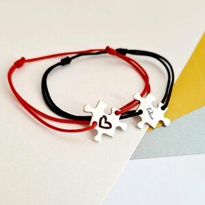 Set 2 bratari personalizate si decorate cu email colorat - Model piese de puzzle - Argint 925 si snur reglabil