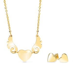 Set colier si cerce - Falling in Love - placat cu aur 18K