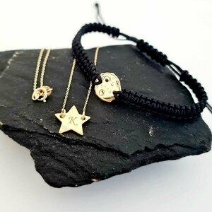 Set lantisor si bratara - Stea si luna plina - cu Diamant natural alb/negru - Aur Galben 14K