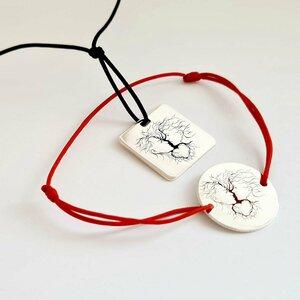 Set pandantiv si bratara decorate cu email colorat - Dragoste cu radacini adanci - Argint 925