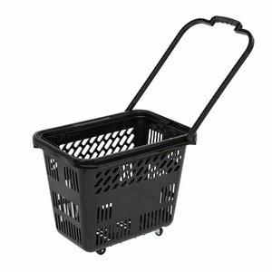 Cos de cumparaturi cu roti si maner 54 litri, Negru