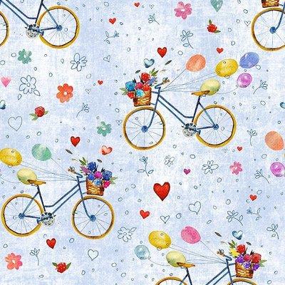 Digital print cotton - Bicikli Blue