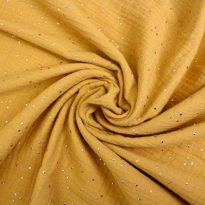 Golden Dots Double Gauze - Glitz Ochre
