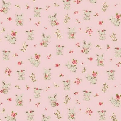 Organic Poplin Printed- Bunny Rose