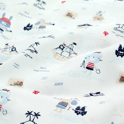 Organic Poplin Printed- Pirates White