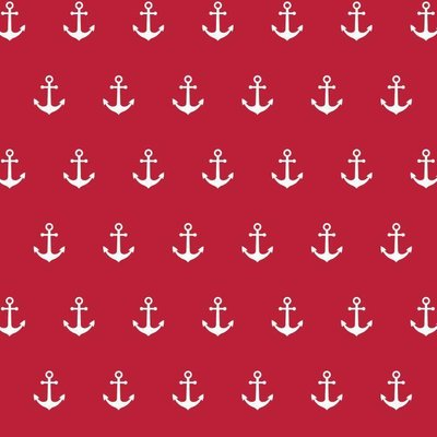 Printed Cotton - Anchor Party Red