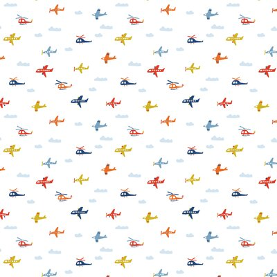 Printed Cotton Brushed -  Airplanes White
