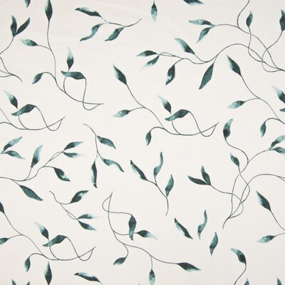 Printed Cotton Jersey - Leaves Dusty Green