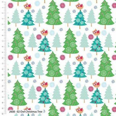 Printed Cotton - Owl Christmas Tree