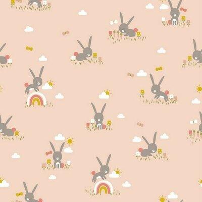 Printed Cotton poplin - Cute Rabbit Salmon