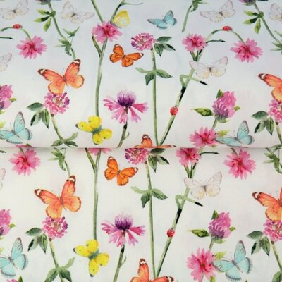 Printed Cotton poplin - Spring Butterfly White